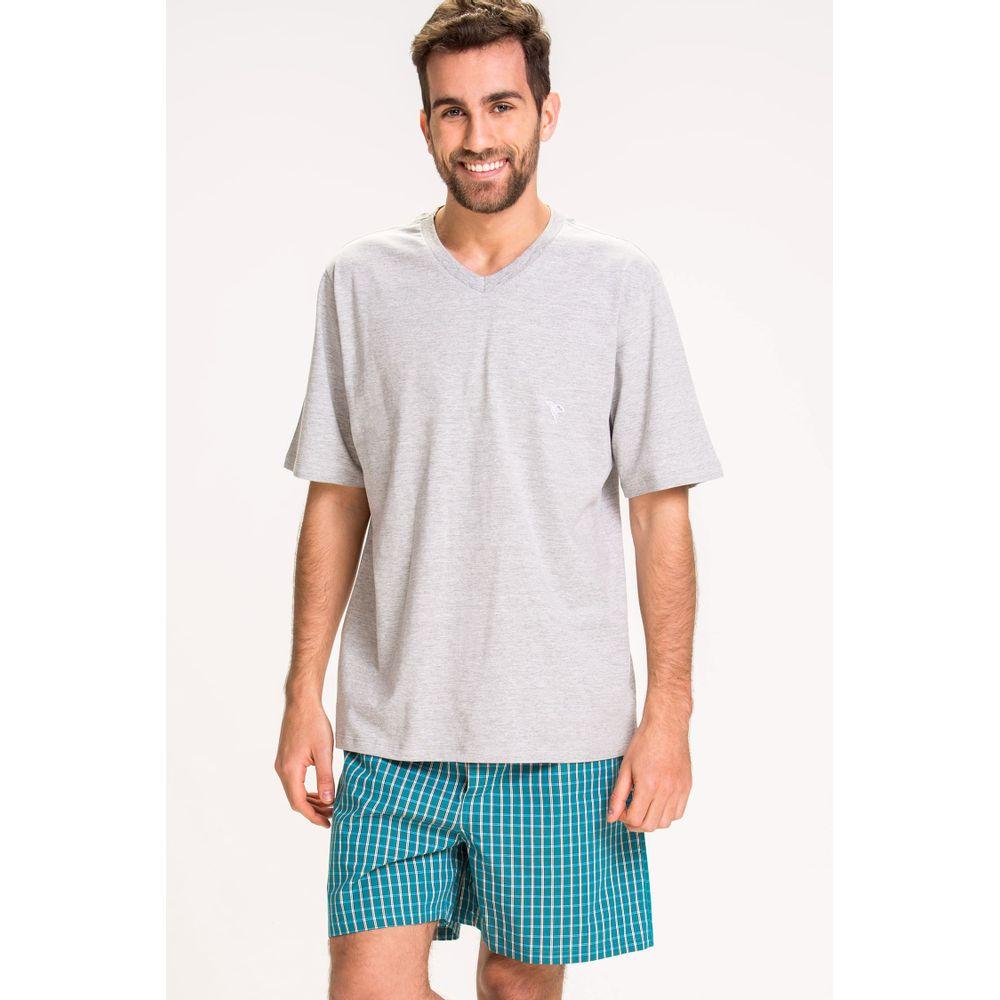 abae66787 Pijama Curto Decote V-Xadrez Organico - 52.43.0004