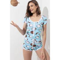 Macacão de dormir feminino canelado estampado coco