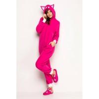 Pijama macacão feminino de bichinho longo com orelhas